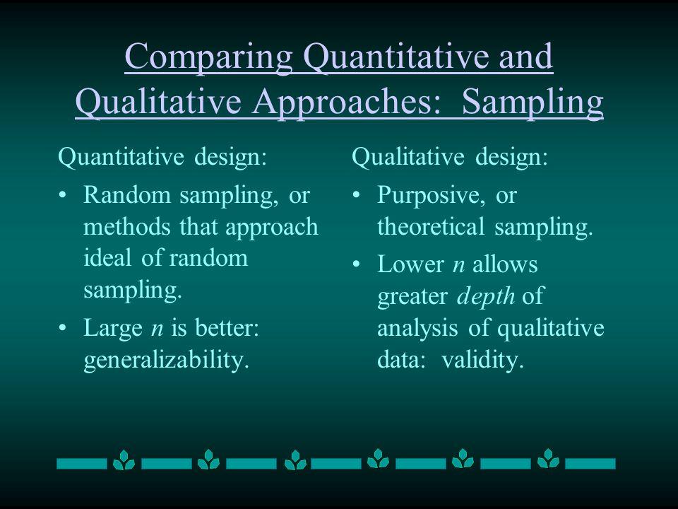 Comparing Quantitative and Qualitative Approaches: Sampling