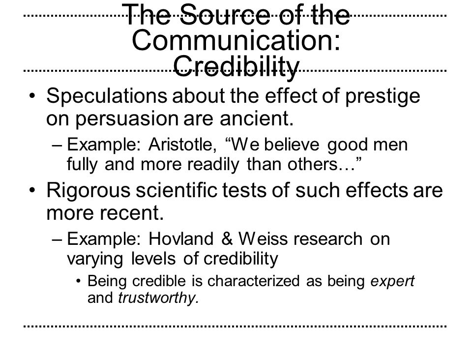 The Source of the Communication: Credibility