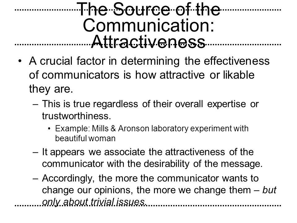 The Source of the Communication: Attractiveness