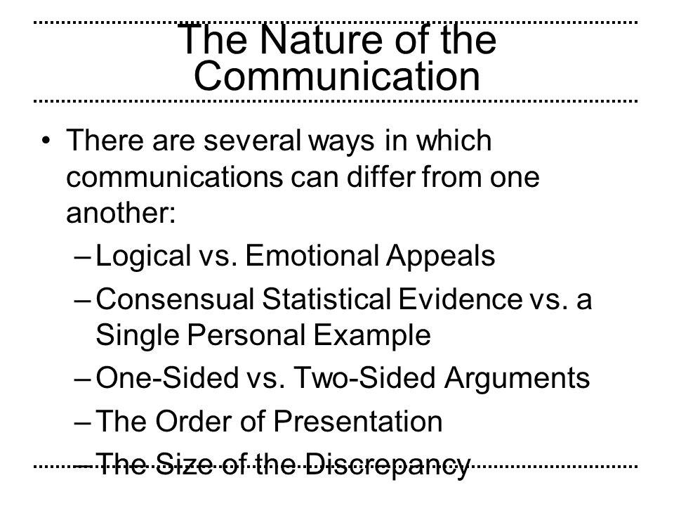 The Nature of the Communication