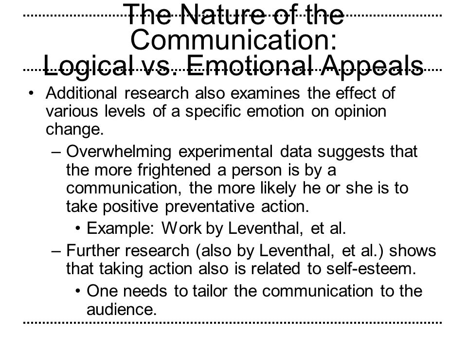 The Nature of the Communication: Logical vs. Emotional Appeals