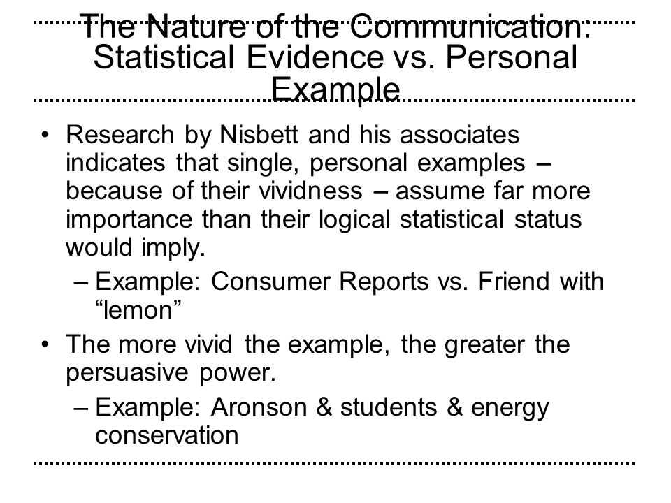 The Nature of the Communication: Statistical Evidence vs