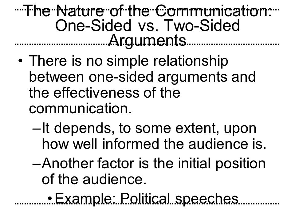 The Nature of the Communication: One-Sided vs. Two-Sided Arguments