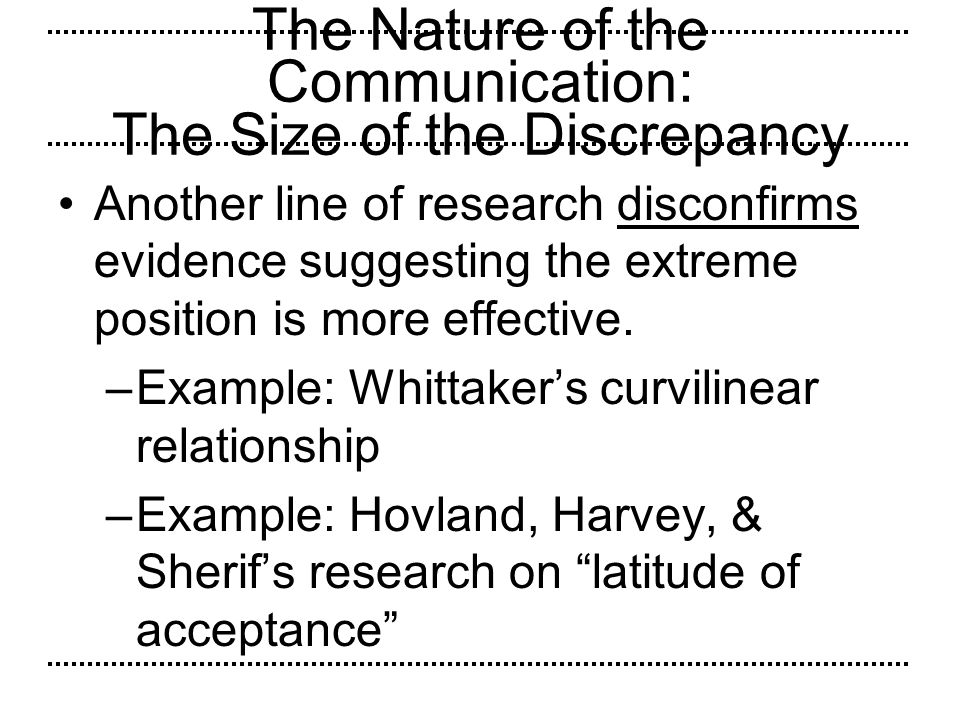 The Nature of the Communication: The Size of the Discrepancy