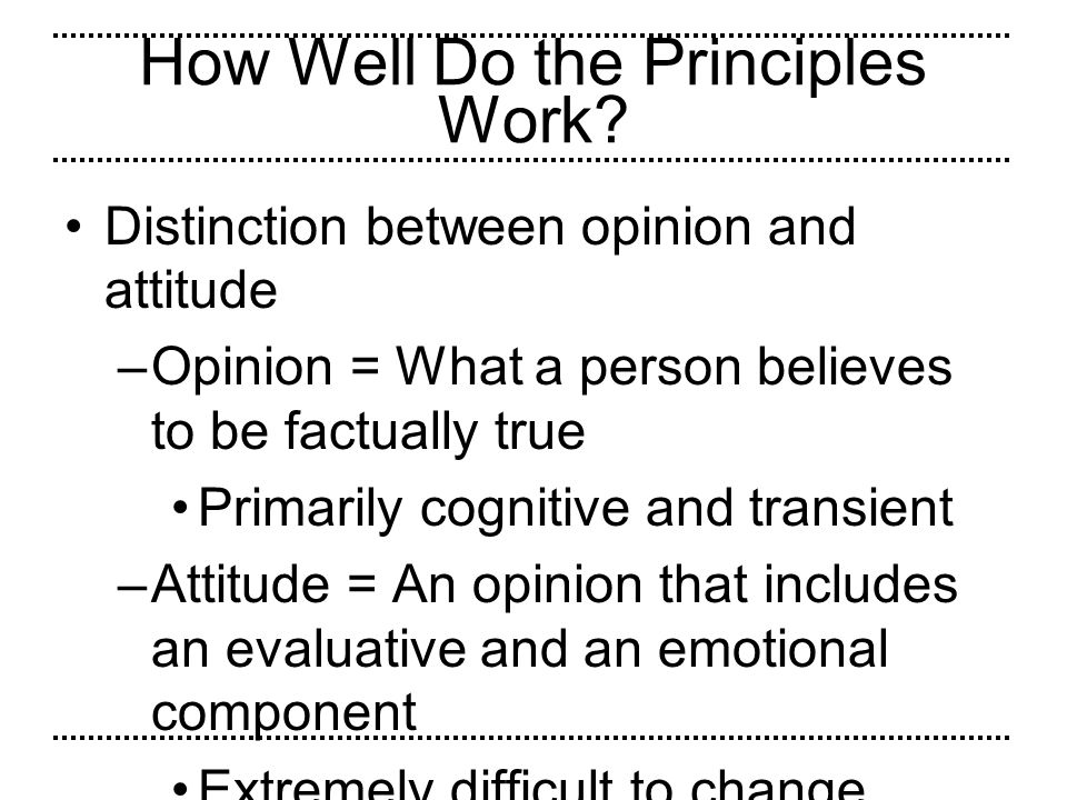 How Well Do the Principles Work
