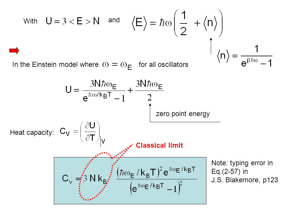 and With. In the Einstein model where. for all oscillators. zero point energy. Heat capacity: Classical limit.
