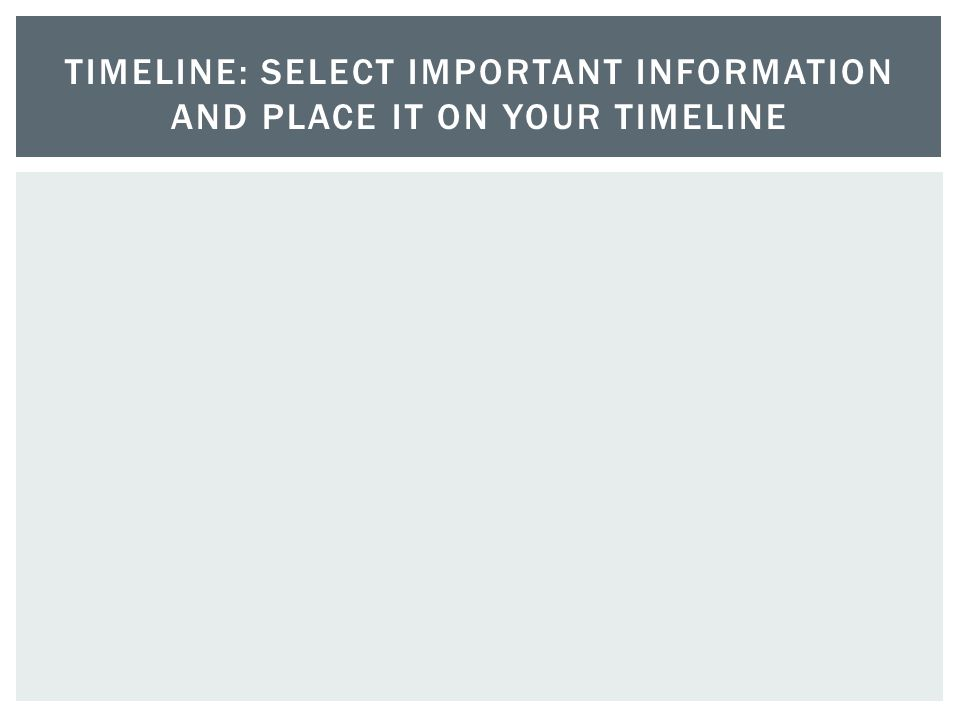Timeline: Select Important information and place it on your timeline