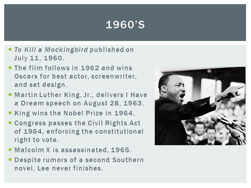 1960's To Kill a Mockingbird published on July 11, 1960.