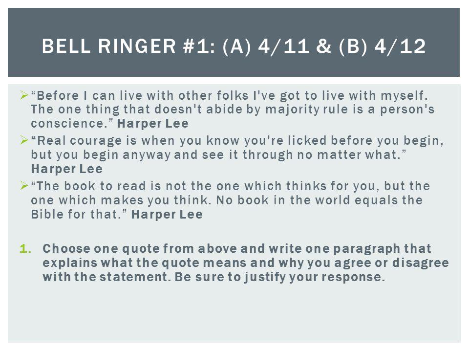 Bell Ringer #1: (A) 4/11 & (B) 4/12