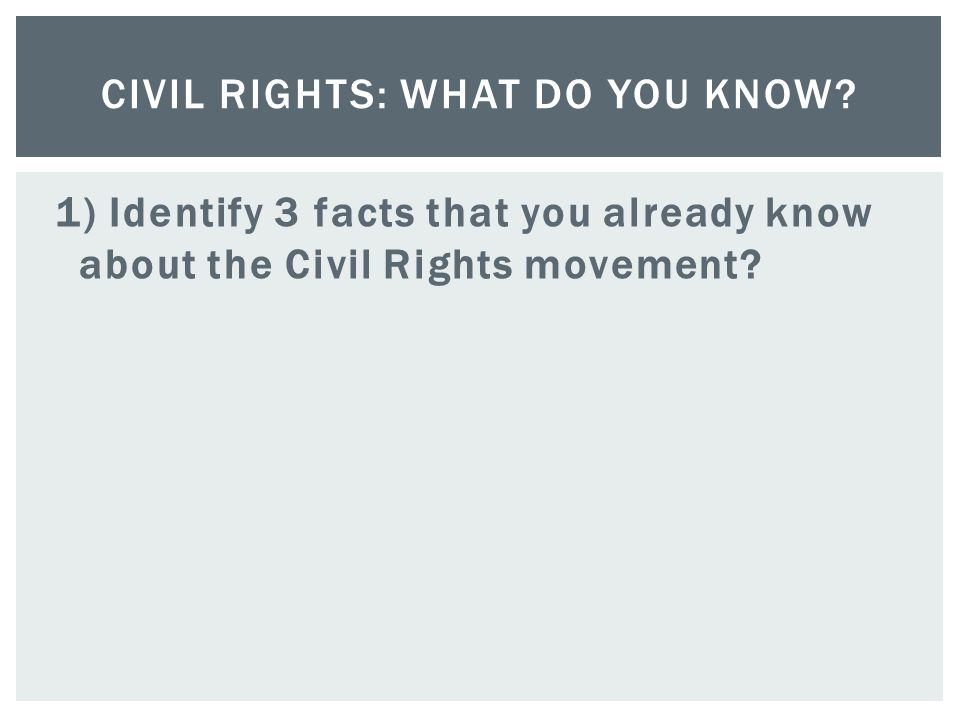 Civil Rights: What do You Know