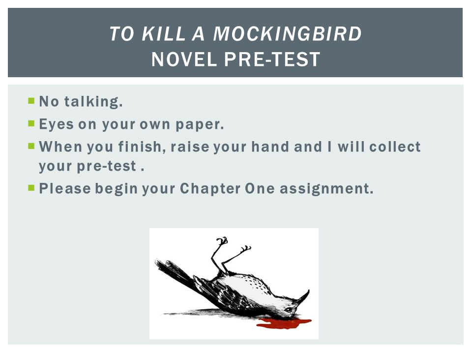 To Kill a Mockingbird Novel Pre-Test