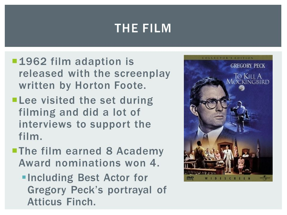 The Film 1962 film adaption is released with the screenplay written by Horton Foote.