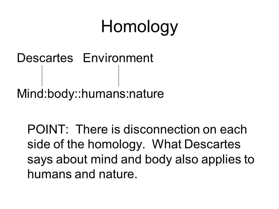 Homology Descartes Environment Mind:body::humans:nature