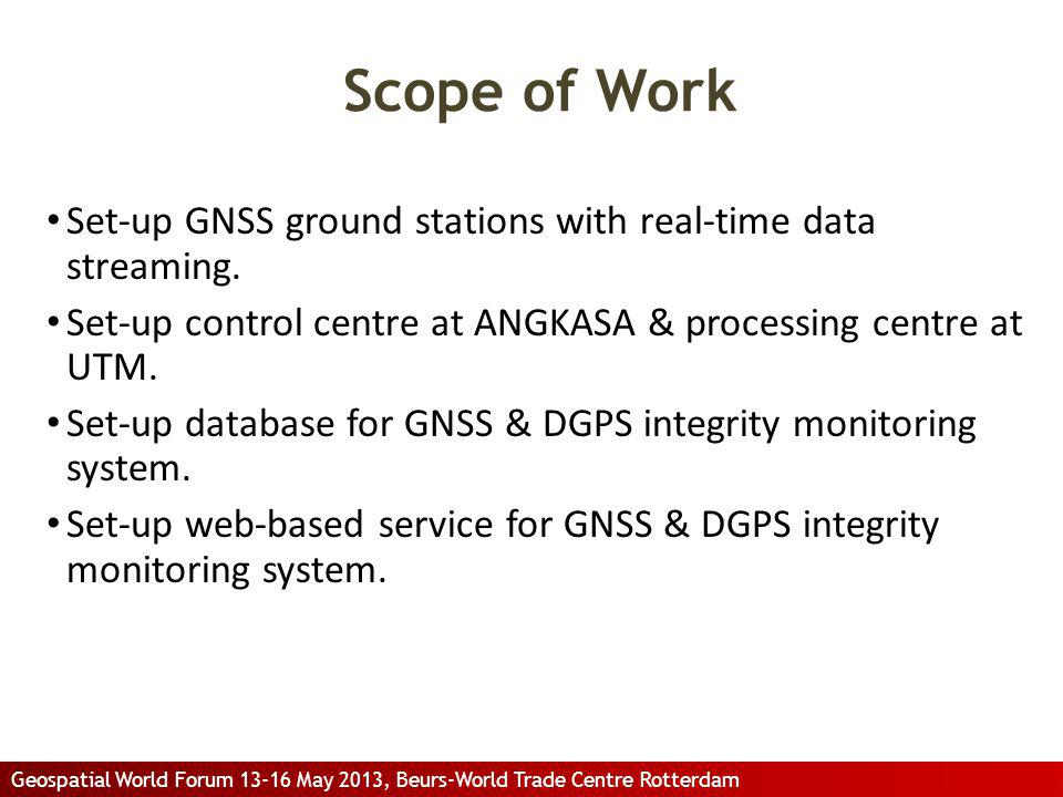 Scope of Work Set-up GNSS ground stations with real-time data streaming. Set-up control centre at ANGKASA & processing centre at UTM.