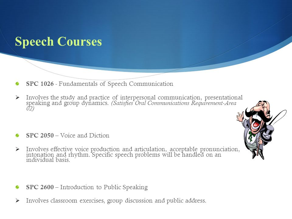 Speech Courses SPC 1026 - Fundamentals of Speech Communication