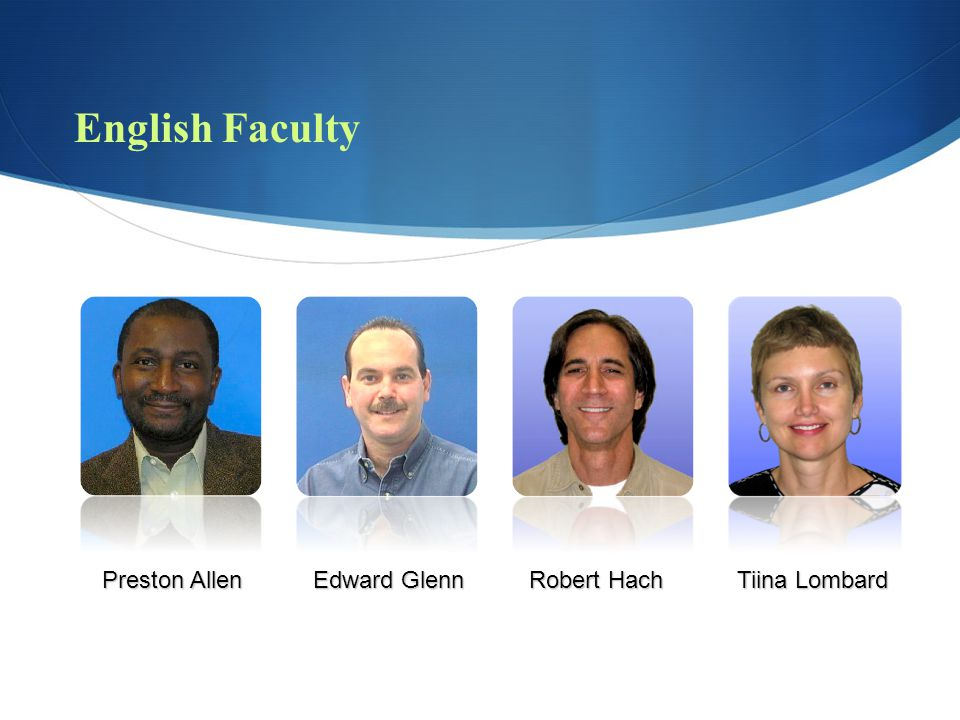 English Faculty Preston Allen Edward Glenn Robert Hach Tiina Lombard