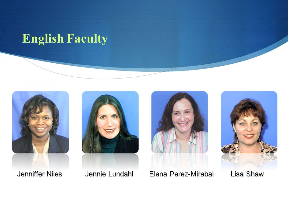English Faculty Jenniffer Niles Jennie Lundahl Elena Perez-Mirabal