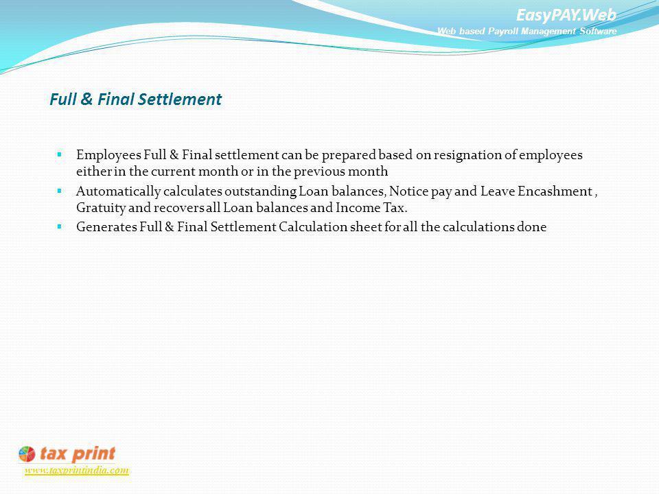 Full & Final Settlement