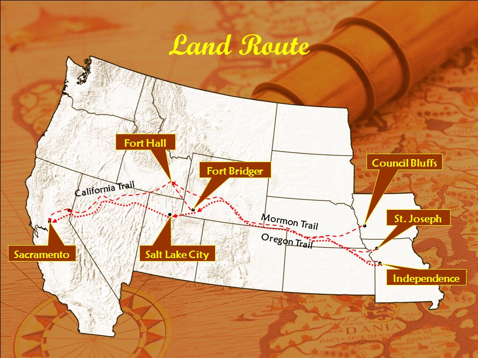 Land Route Fort Hall Council Bluffs Fort Bridger St. Joseph Sacramento