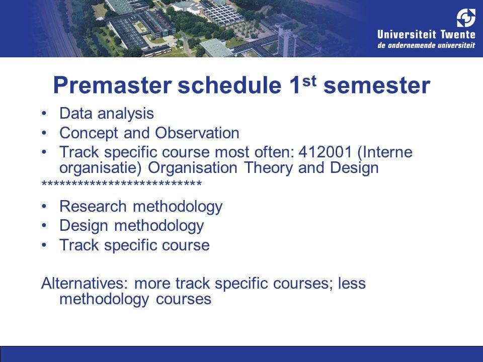 Premaster schedule 1st semester
