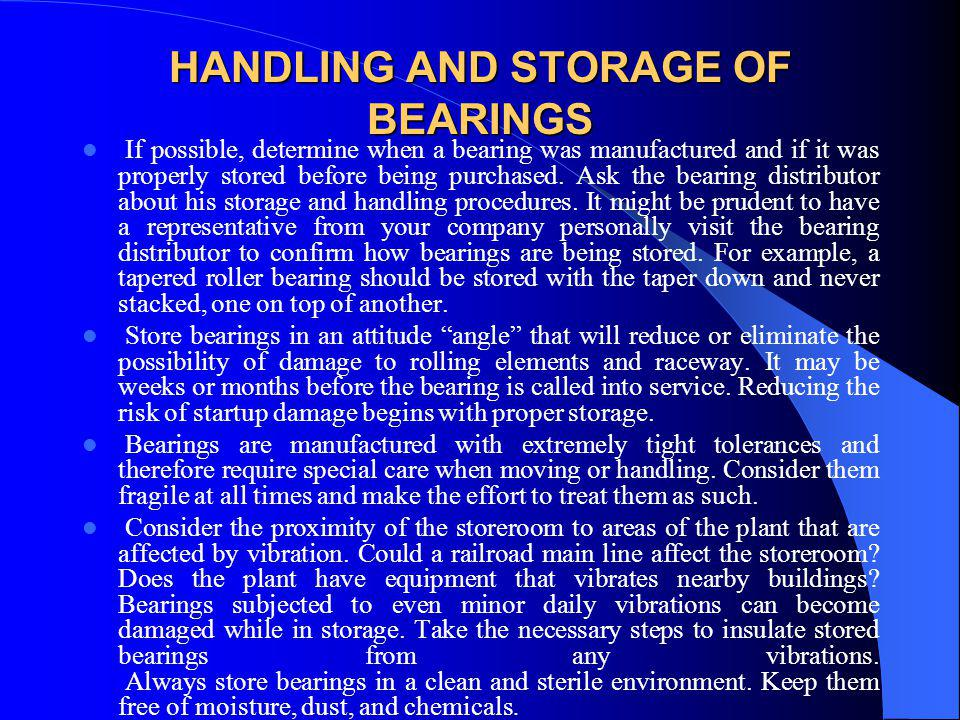 HANDLING AND STORAGE OF BEARINGS