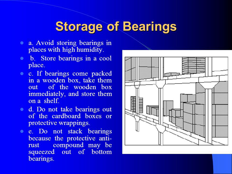 Storage of Bearings a. Avoid storing bearings in places with high humidity. b. Store bearings in a cool place.