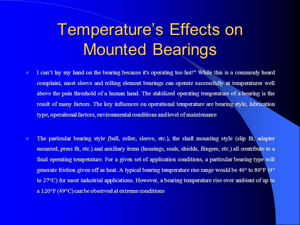 Temperature's Effects on Mounted Bearings