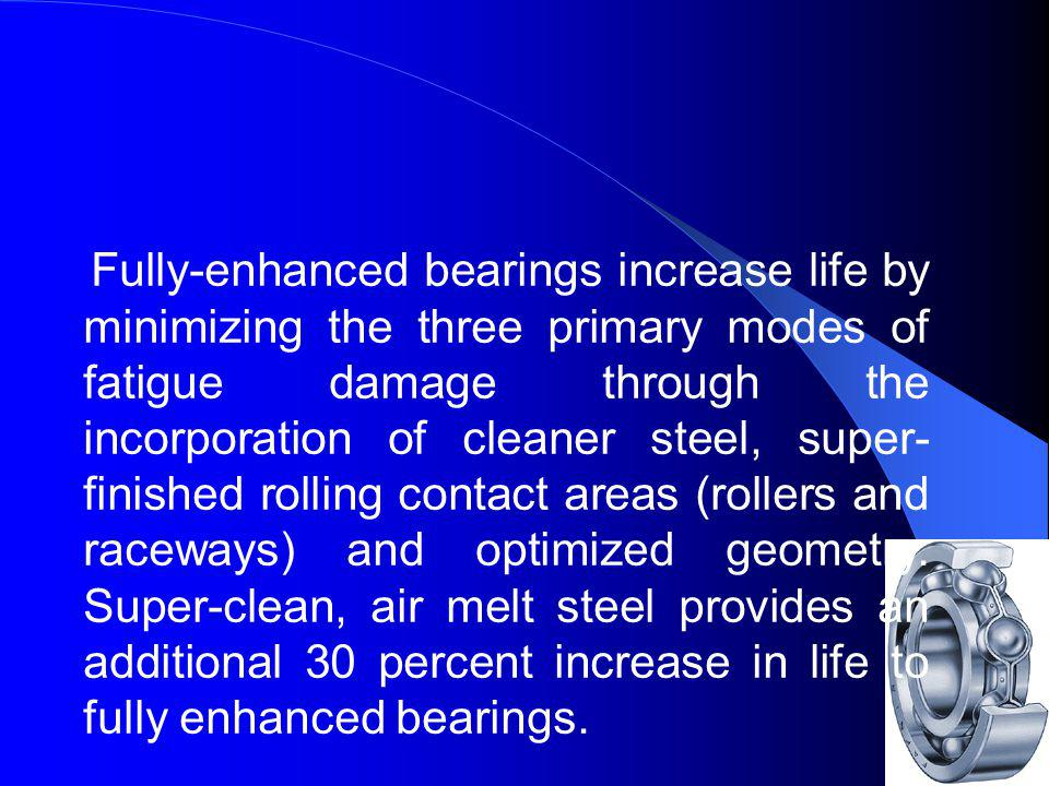 Fully-enhanced bearings increase life by minimizing the three primary modes of fatigue damage through the incorporation of cleaner steel, super-finished rolling contact areas (rollers and raceways) and optimized geometry.