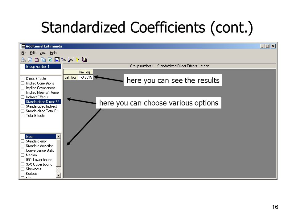 Standardized Coefficients (cont.)