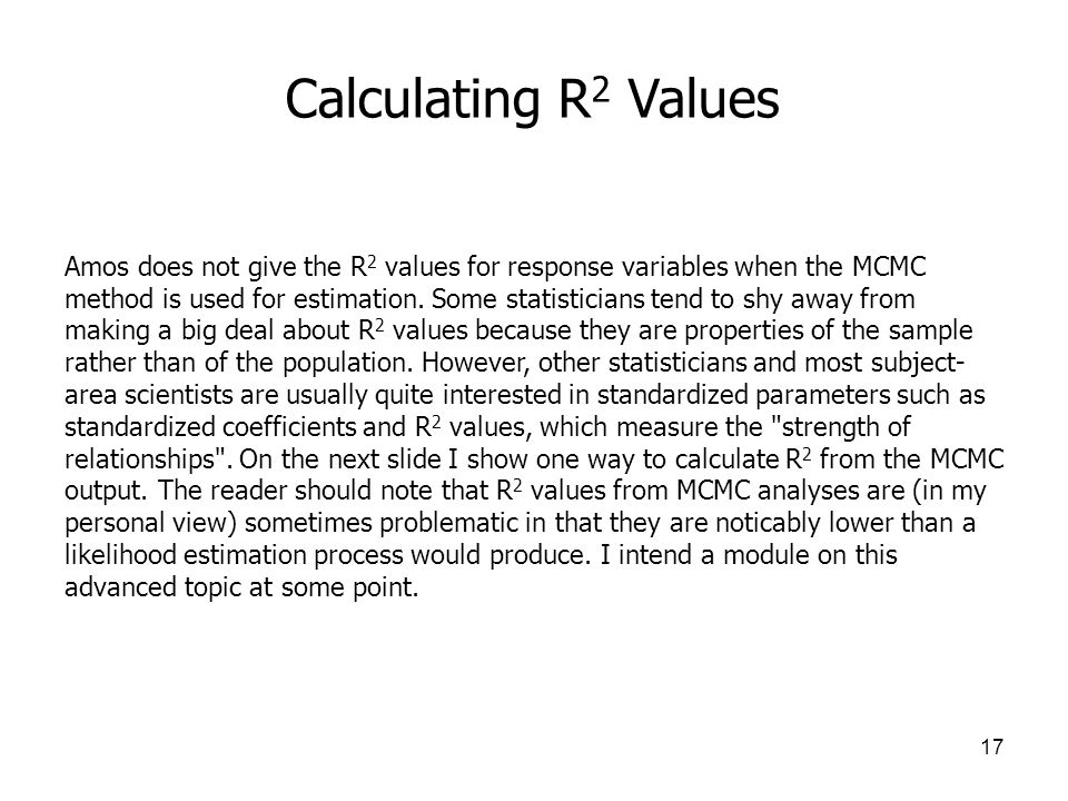 Calculating R2 Values