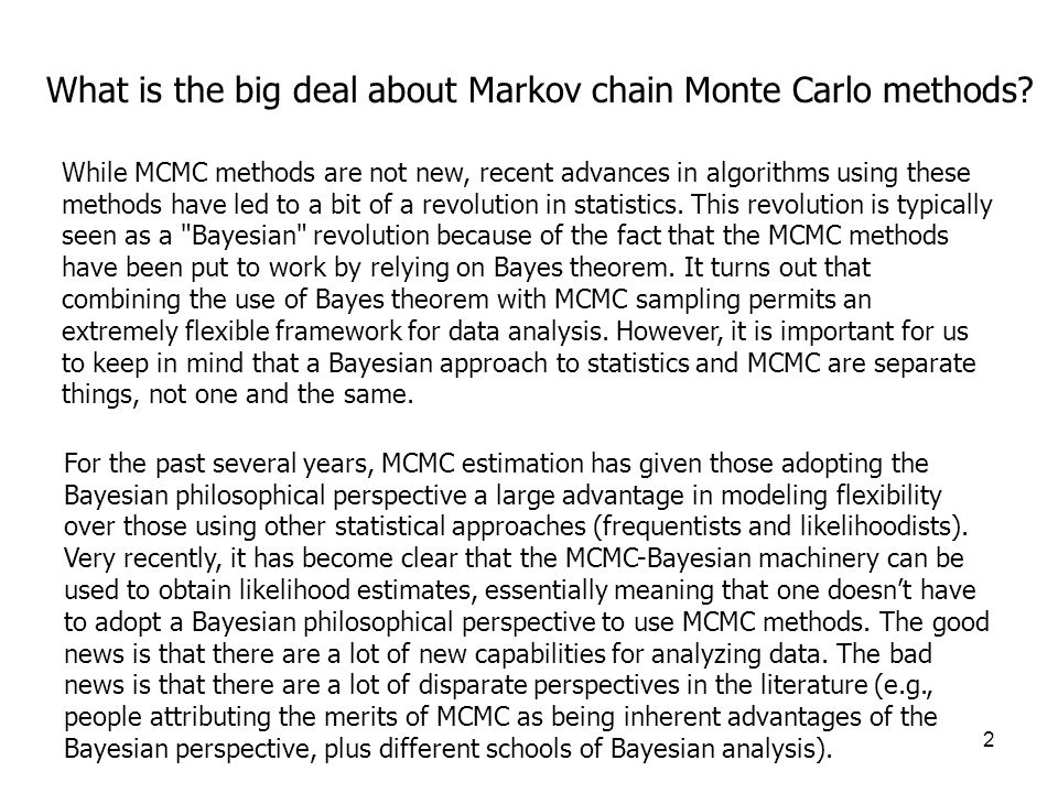 What is the big deal about Markov chain Monte Carlo methods