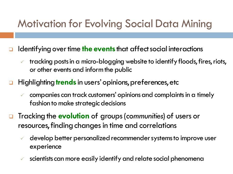 Motivation for Evolving Social Data Mining