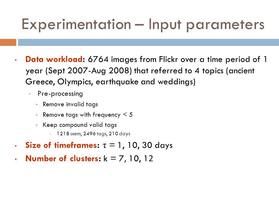 Experimentation – Input parameters