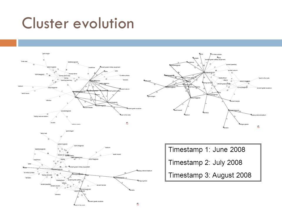 Cluster evolution Timestamp 1: June 2008 Timestamp 2: July 2008