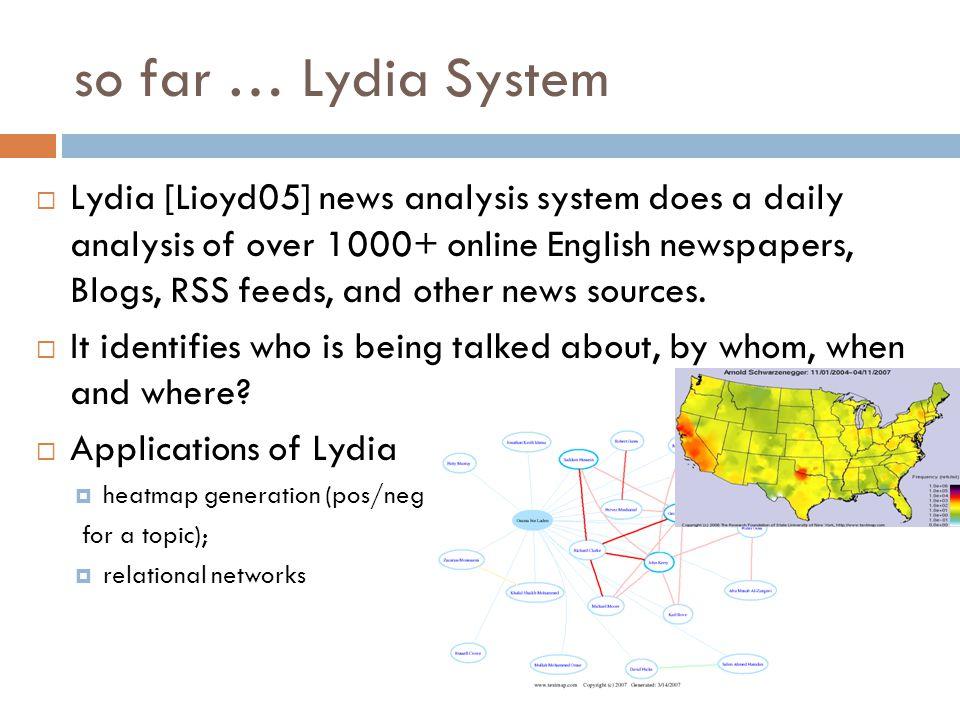 so far … Lydia System