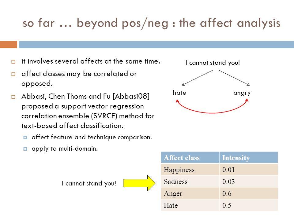 so far … beyond pos/neg : the affect analysis