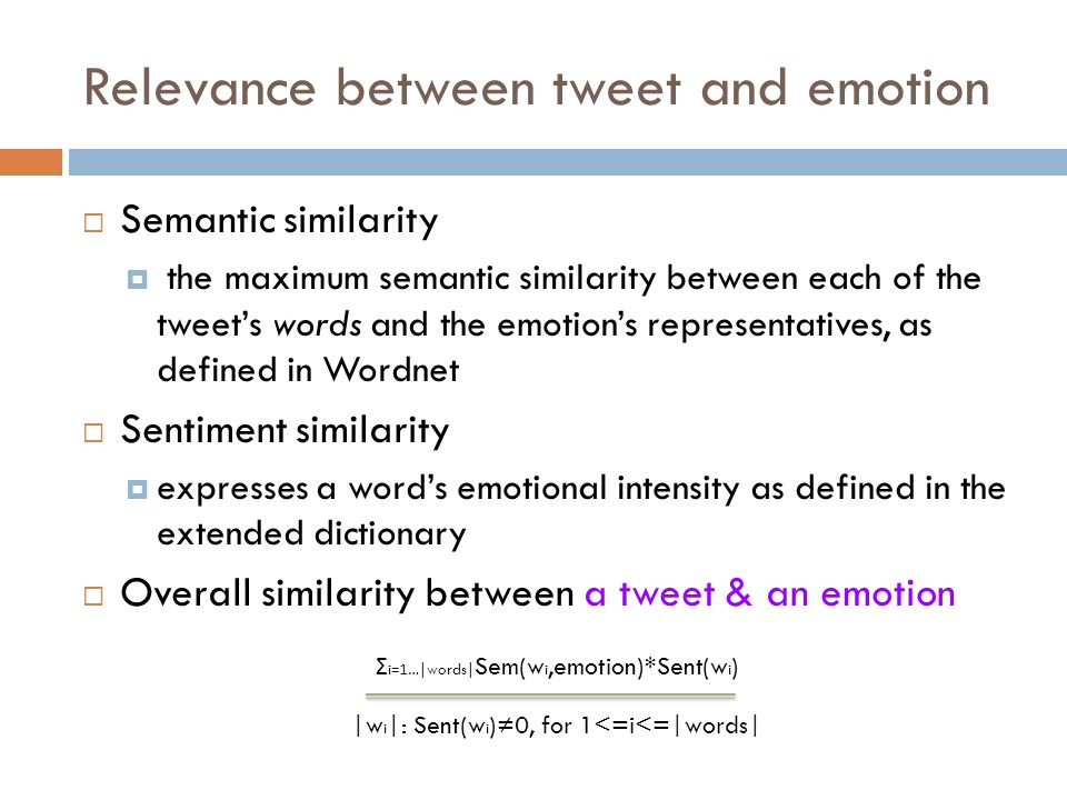 Relevance between tweet and emotion
