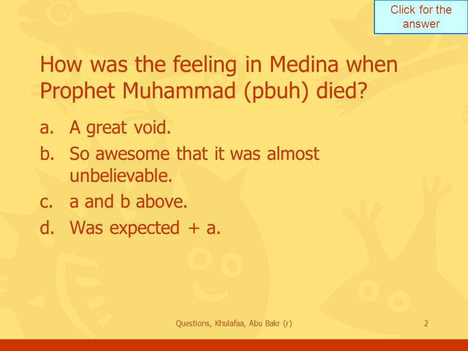 How was the feeling in Medina when Prophet Muhammad (pbuh) died