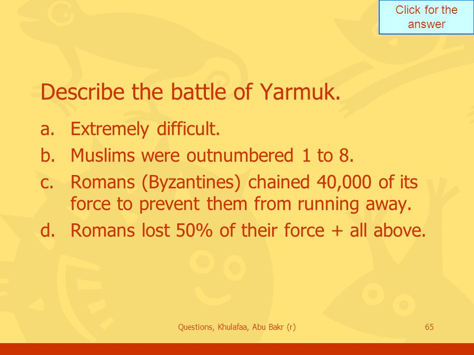 Describe the battle of Yarmuk.