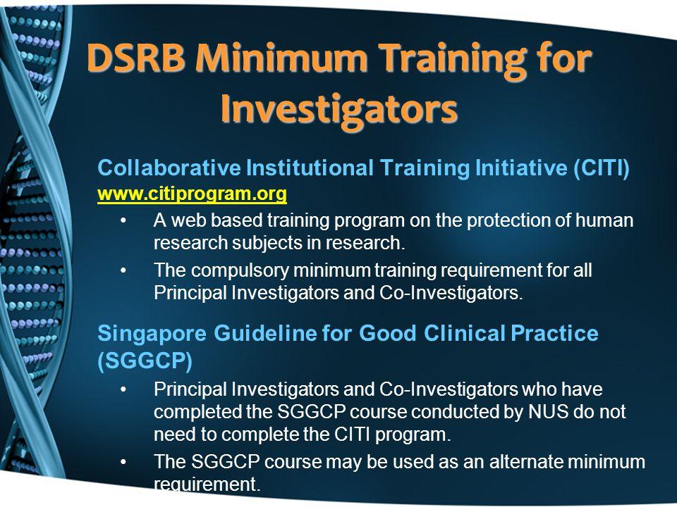 DSRB Minimum Training for Investigators