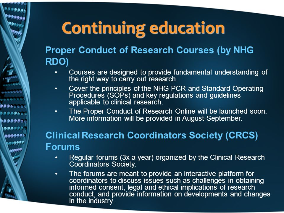 Continuing education Proper Conduct of Research Courses (by NHG RDO)