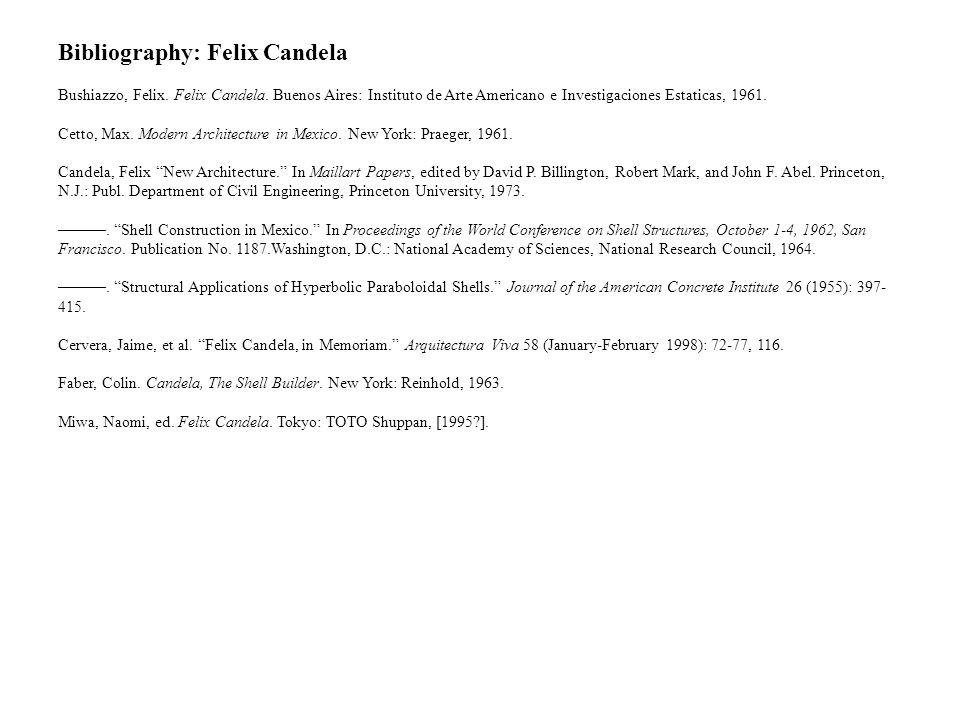 Bibliography: Felix Candela