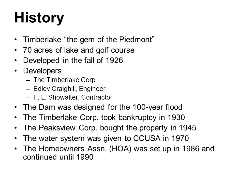History Timberlake the gem of the Piedmont