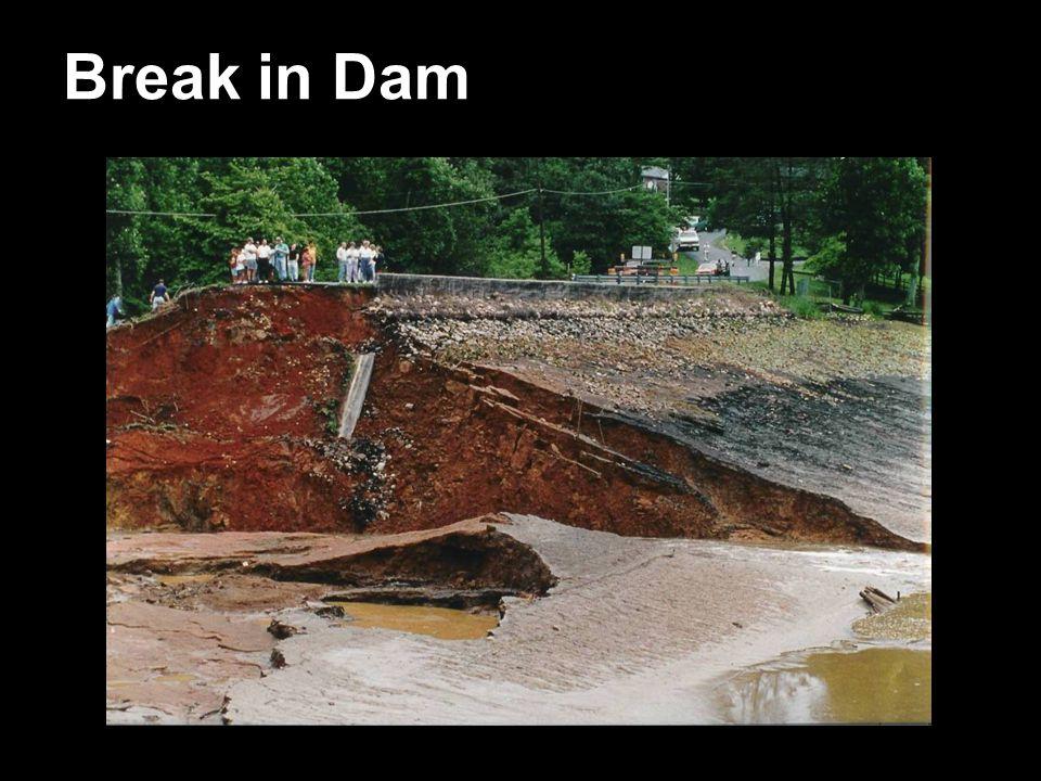 Break in Dam Washout from the Dam Failure 6/22/95