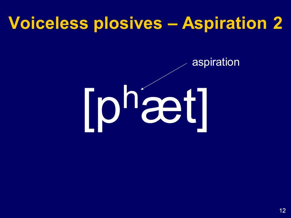 Voiceless plosives – Aspiration 2