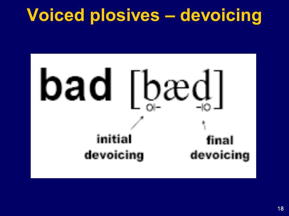 Voiced plosives – devoicing