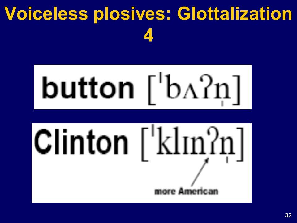 Voiceless plosives: Glottalization 4