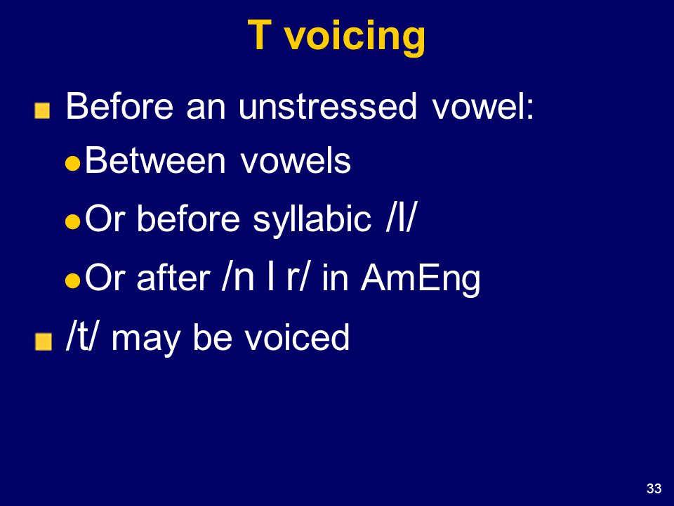 T voicing /t/ may be voiced Before an unstressed vowel: Between vowels