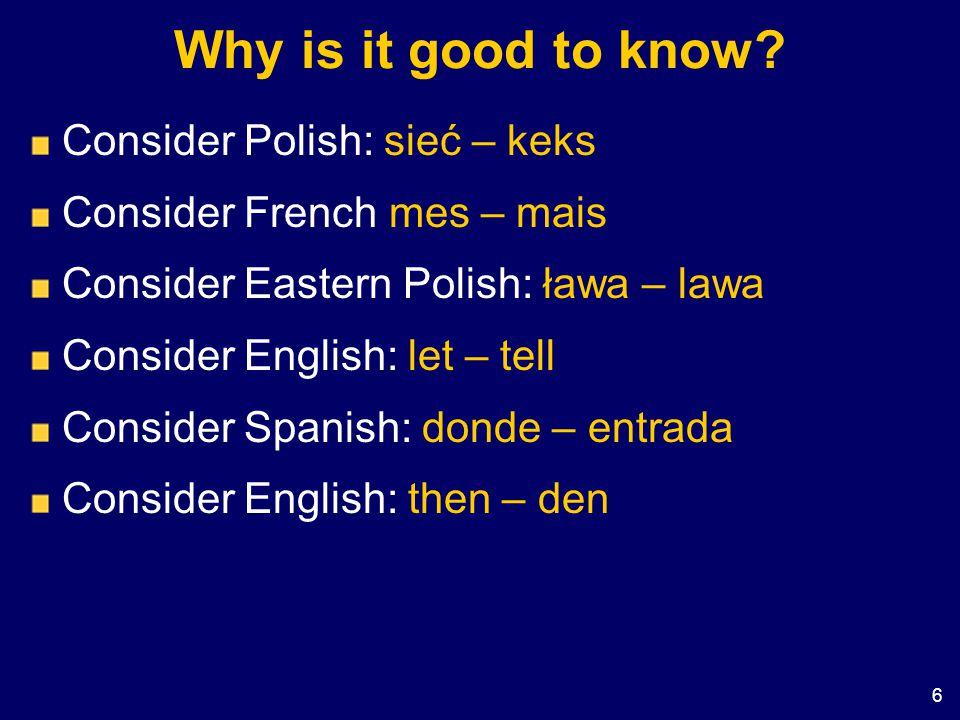 Why is it good to know Consider Polish: sieć – keks