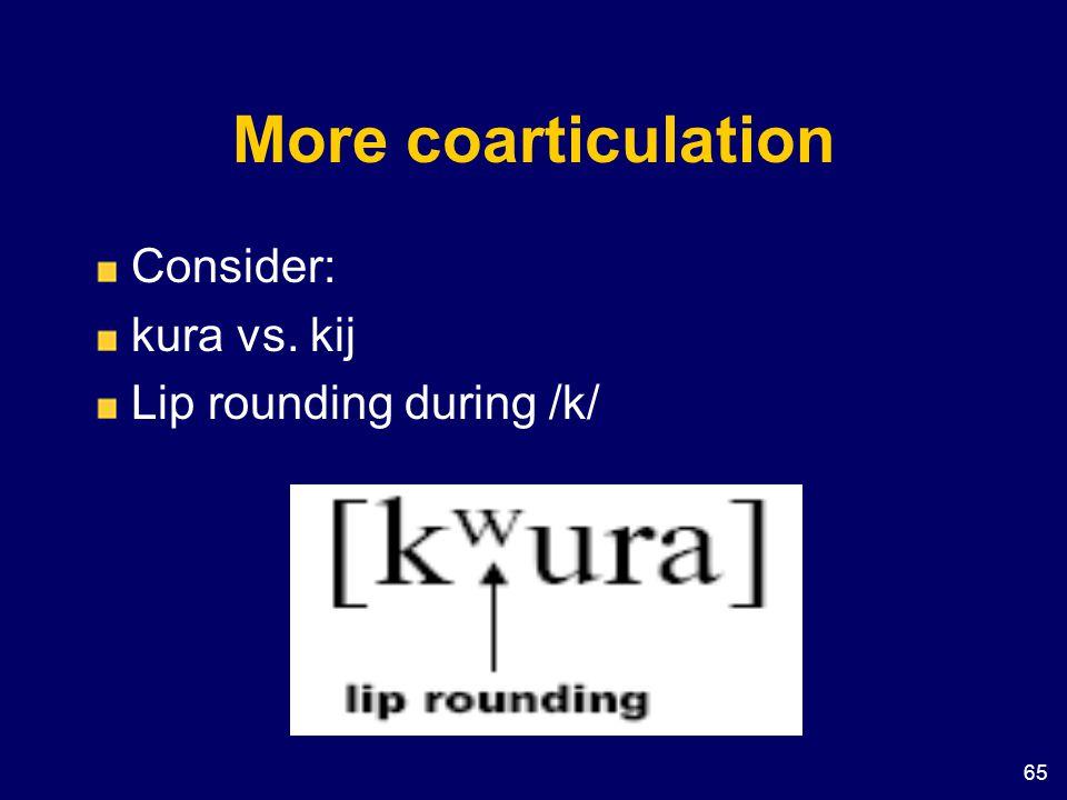 More coarticulation Consider: kura vs. kij Lip rounding during /k/